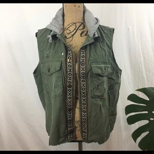 Free People Embroidered Army Vest